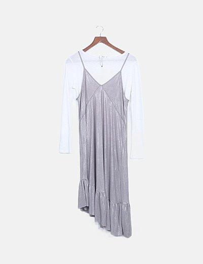 Vestido combinado tirantes plata