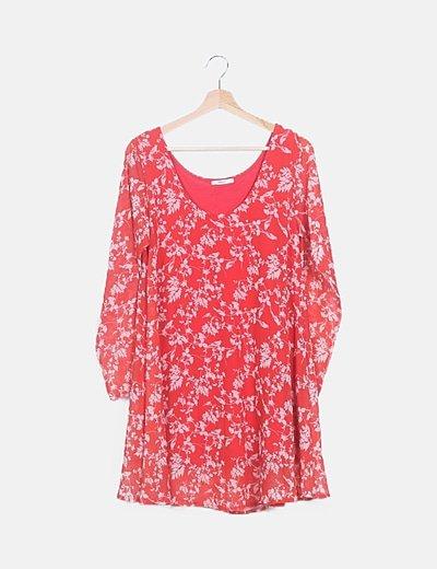 Vestido gasa rojo estampado
