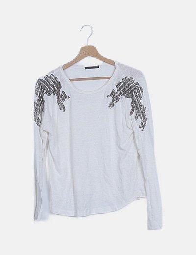 Jersey tricot blanco con abalorios