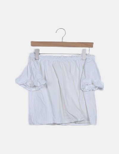 Blusa blanca escote bardot