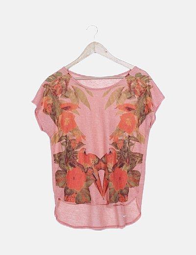 Camiseta narnja floral