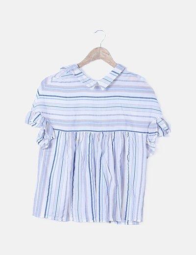 Blusa blanca rayas azul marino