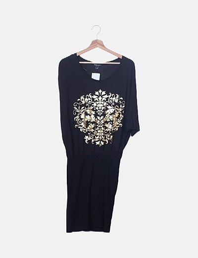 Vestido negro combinado print dorado