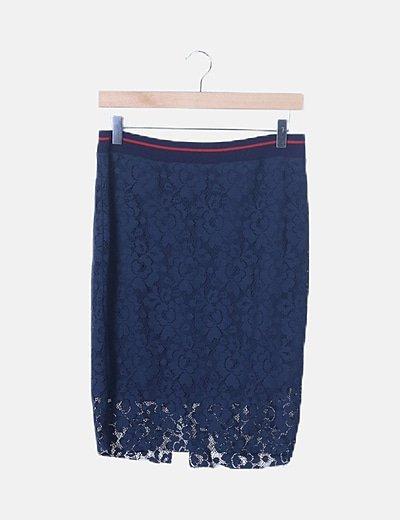 Falda azul marina encaje