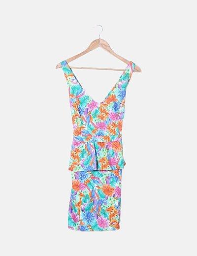 Vestido floral multicolor detalle volante