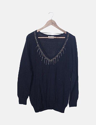Jersey tricot negro tachas