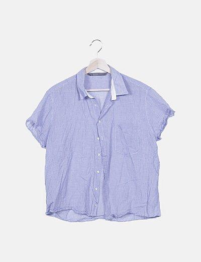 Camisa azul de cuadros combinados