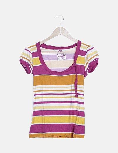 Camiseta de rayas combinadas