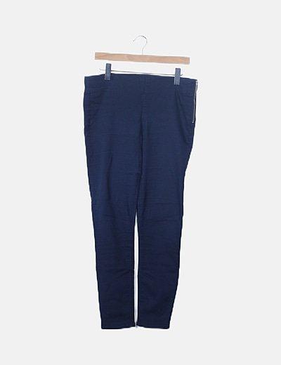 Pantalón skinny azul marino detalle cremallera