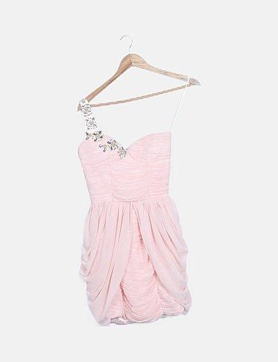 Vestido mini asimétrico plisado