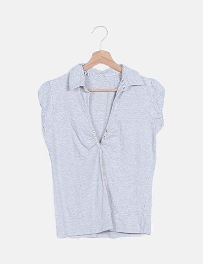 Suéter punto gris claro