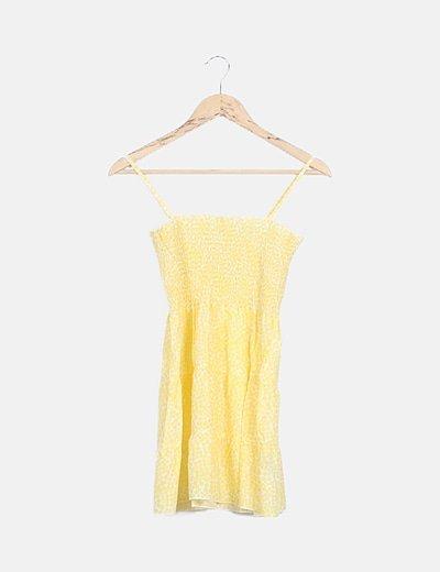 Camiseta amarilla estampada nido abeja
