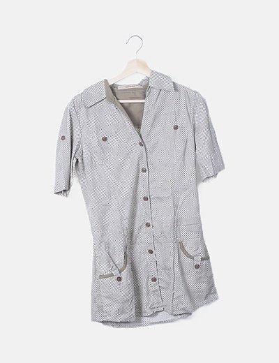 Camiseta print geométrico bicolor