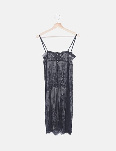 Vestido negro lencero