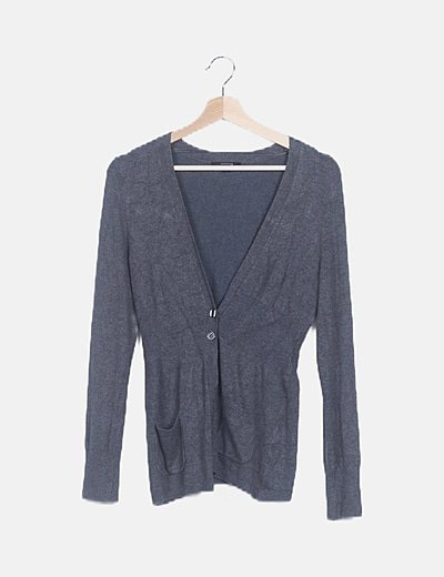 Chaqueta tricot gris oscuro