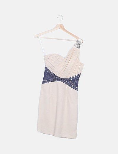 Vestido beige asimétrico escote plisado
