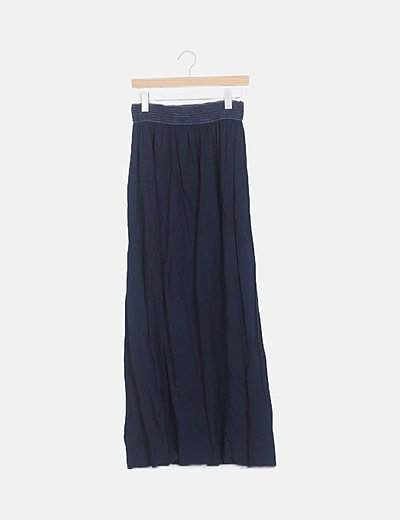 Falda maxi azul marino