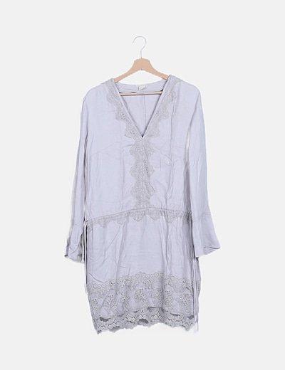 Vestido midi gris crochet