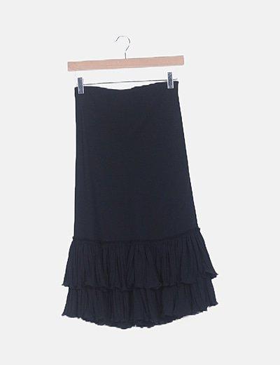 Falda midi negra volantes