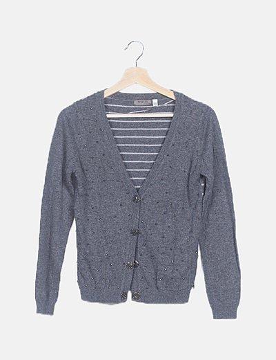 Chaqueta tricot gris strass