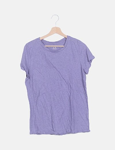 Camiseta morada jaspeada manga corta