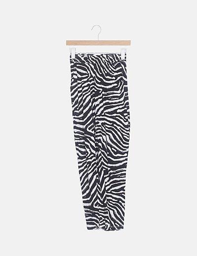 Pantalón fluido bicolor animal print