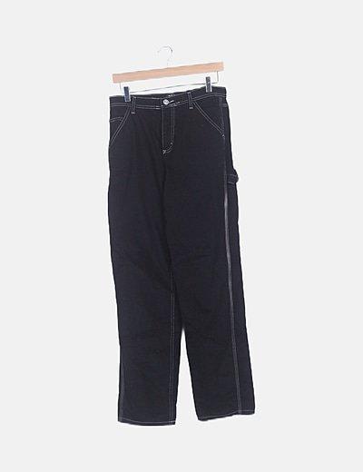 Jeans denim negro ribete blanco