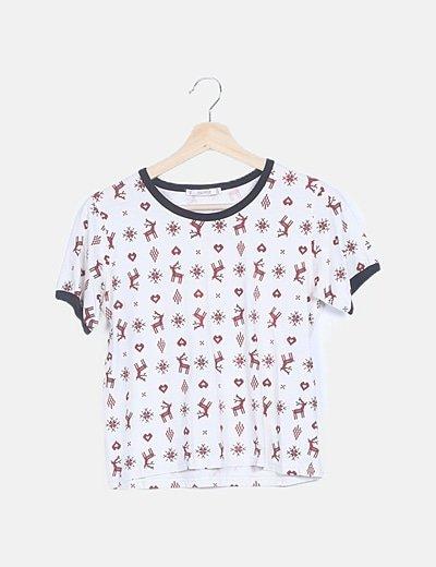 Camiseta blanca print dibujos