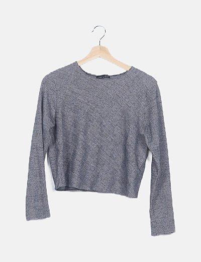 Camiseta oversize gris cuadros