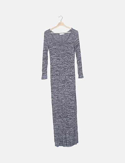Vestido canalé gris manga larga
