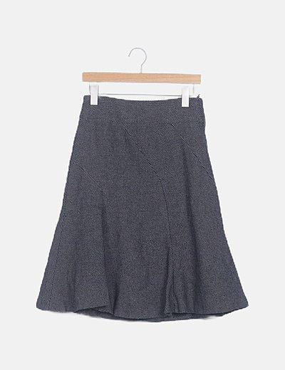 Falda midi texturizada gris
