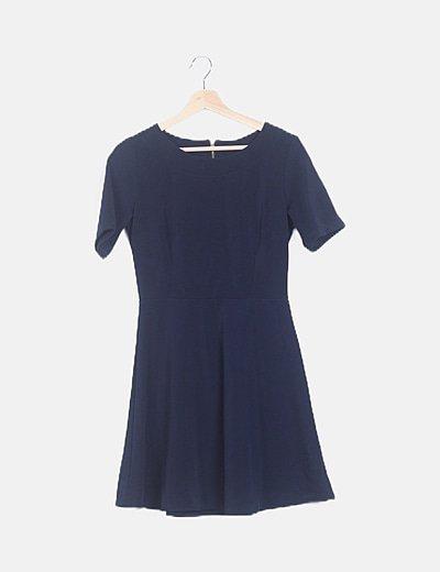 Vestido mini texturizado azul marino