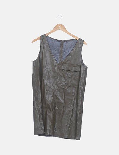 Vestido polipiel caqui
