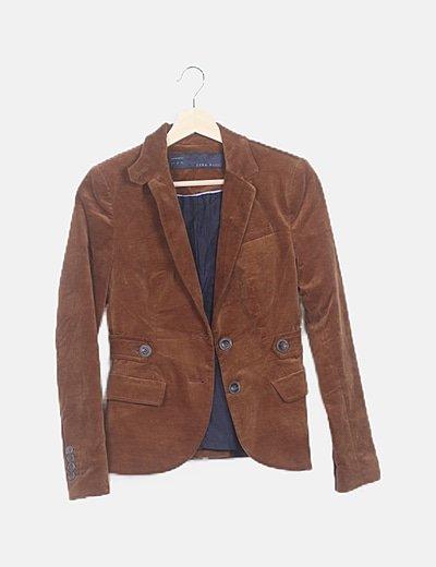 Chaqueta blazer terciopelo marrón