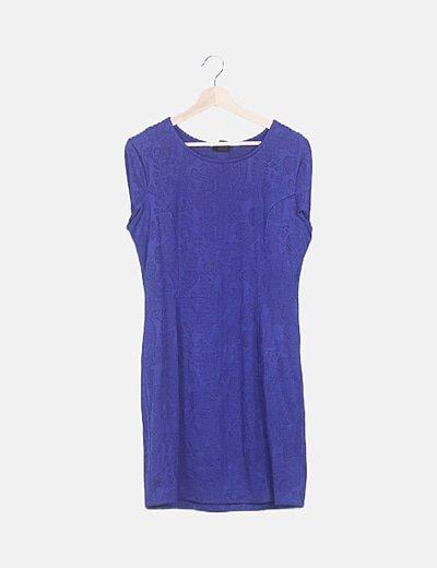 Vestido azul eléctrico texturizado