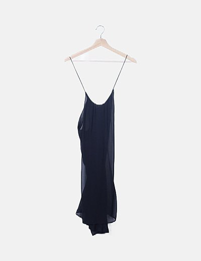 Vestido fluido gasa negro