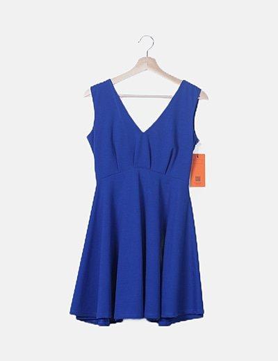 Vestido azul eléctrico escote espalda detalle lace up