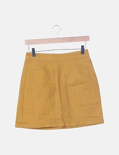 Mini falda denim mostaza