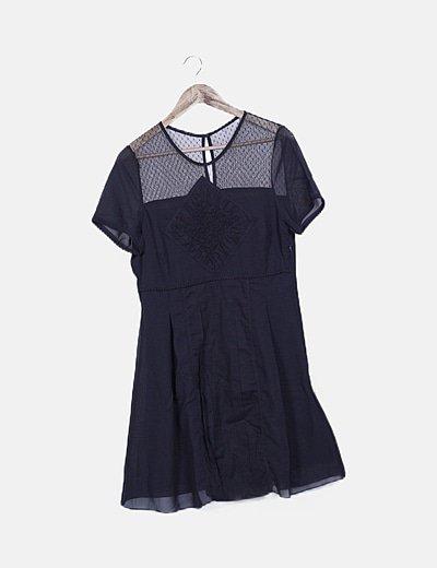 Vestido combinado negro