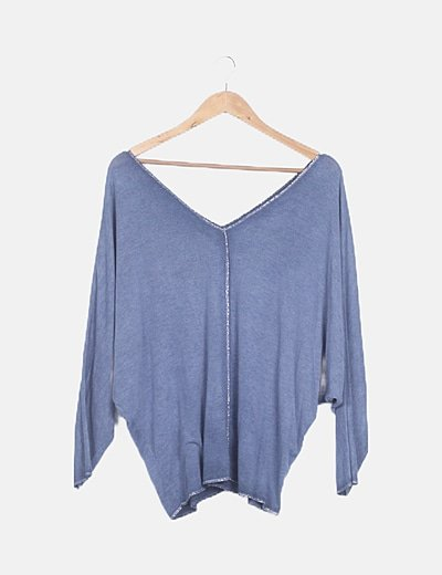 Jersey tricot azul con glitter