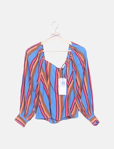Camiseta multicolor manga abullonada
