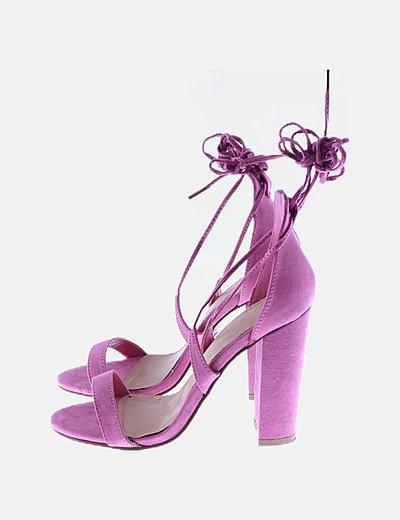 Sandalia rosa lace up