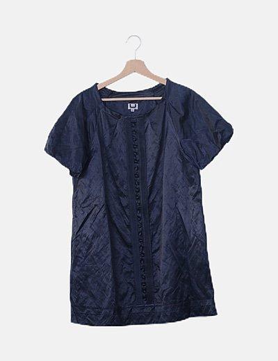Vestido azul marino abotonado