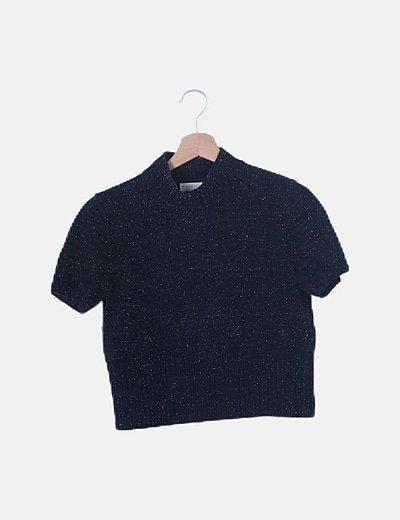 Jersey chenilla negro detalles glitter