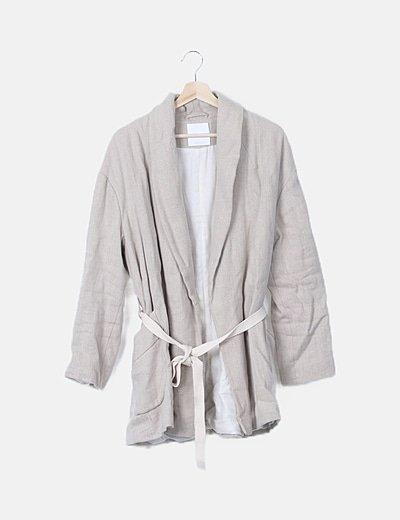 Abrigo beige lace up
