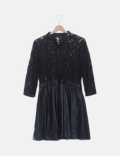 Vestido mini negro combinado manga larga