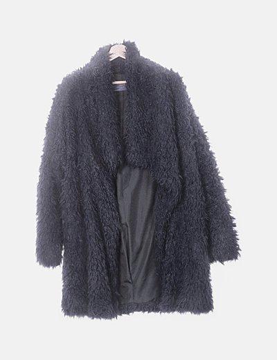 Abrigo largo azul marino pelo