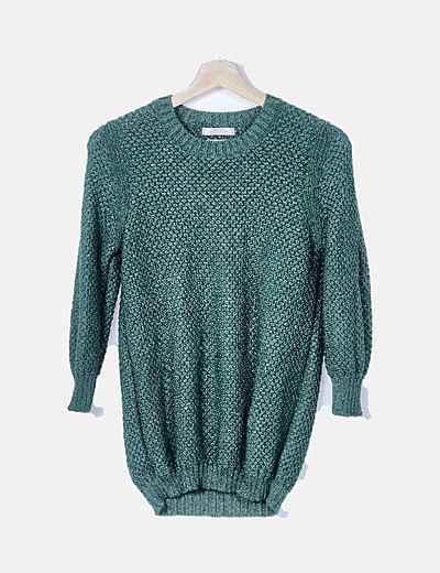 Jersey tricot verde detalle glitter