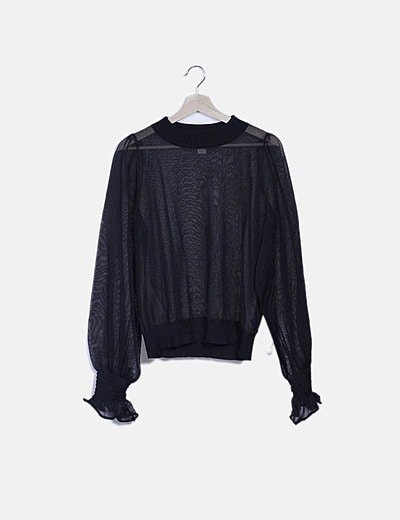 Jersey negro semitransparente detalle mangas