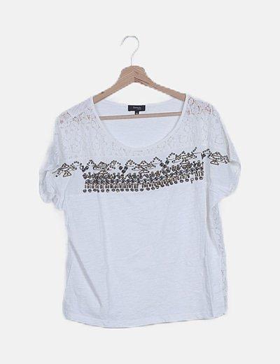 Blusa blanca detalle paillettes